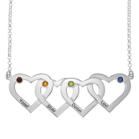 Vier verbundene Herzen und Geburtssteine Halskette