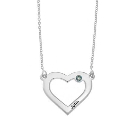 Herz und Geburtsstein Halskette