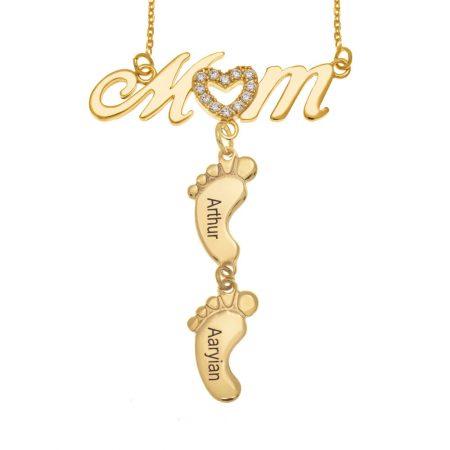 Swarovski Inlay Mom Halskette mit Babyfüßen