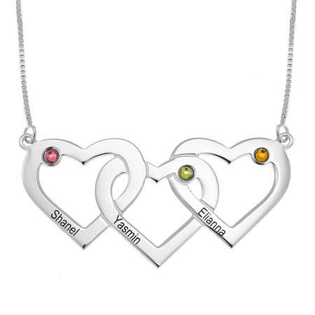 Drei verbundene Herzen und Geburtssteine Halskette