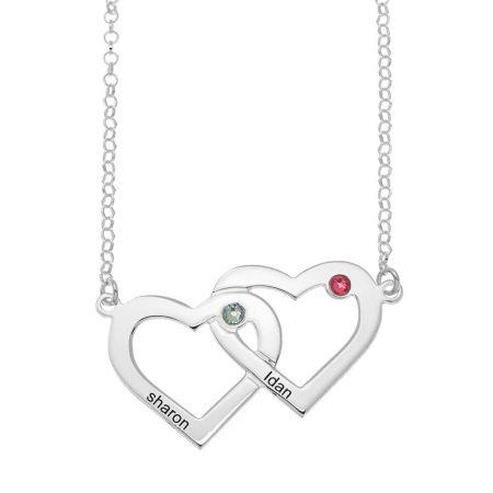 Zwei verbundene Herzen und Geburtssteine Halskette