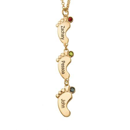 Vertikale BabyFuß Halskette mit Geburtssteinen