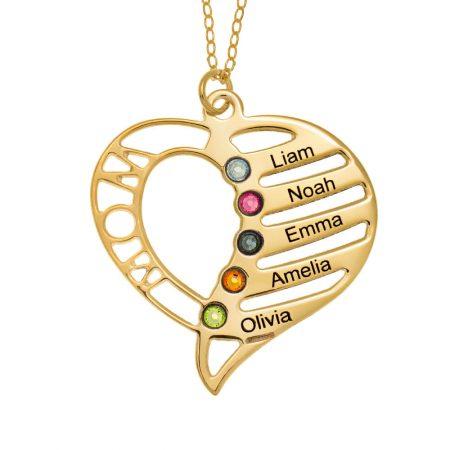 Personalisierte Mutter-Herzkette mit Geburtssteinen