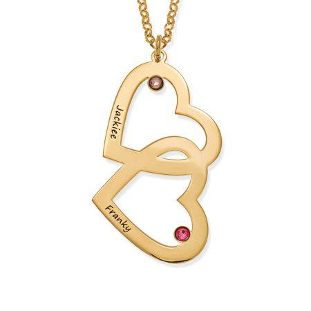 Herz in Herz mit Geburtsstein-Halskette