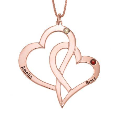 Halskette aus Ineinandergreifenden Herzen und Geburtssteinen