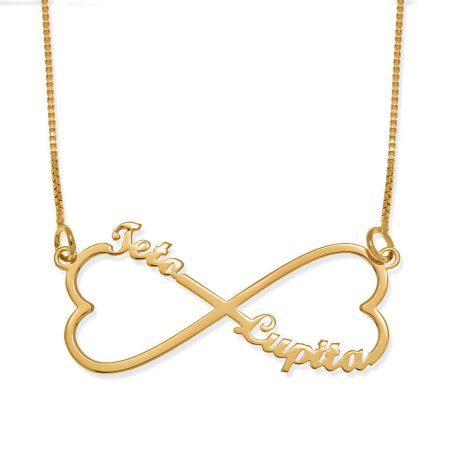 Halskette mit personalisiertem Unendlichkeitsherz und zwei Namen